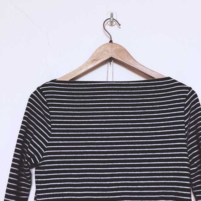 ✨含運✨正韓船型領條紋上衣