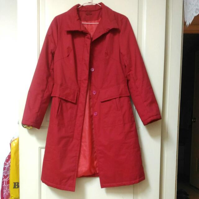 紅色 長版風衣外套