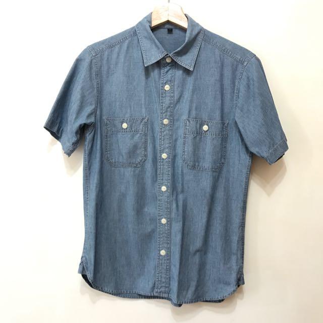 無印良品 簡約 牛仔風格短袖襯衫