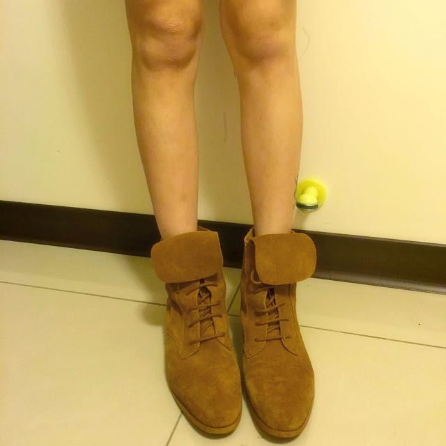 正韓貨 麂皮反折靴 - 38號