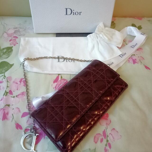 Fast deal  350 Authentic Lady Dior wallet on chain   clutch ec84eef562d56