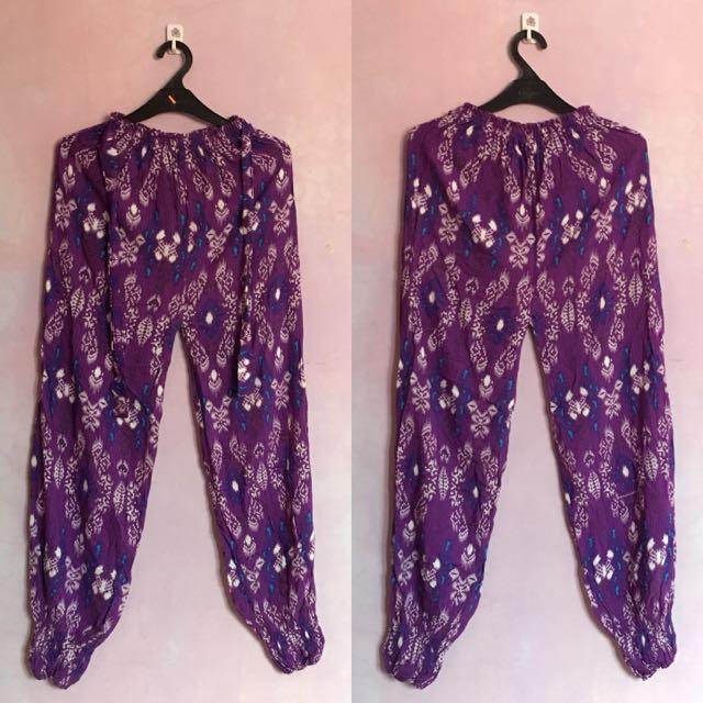 Batik Purple Long Pants - Celana Batik Ungu Panjang