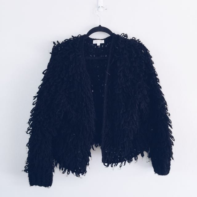 BLACK KNITTED JACKET SIZE M/L