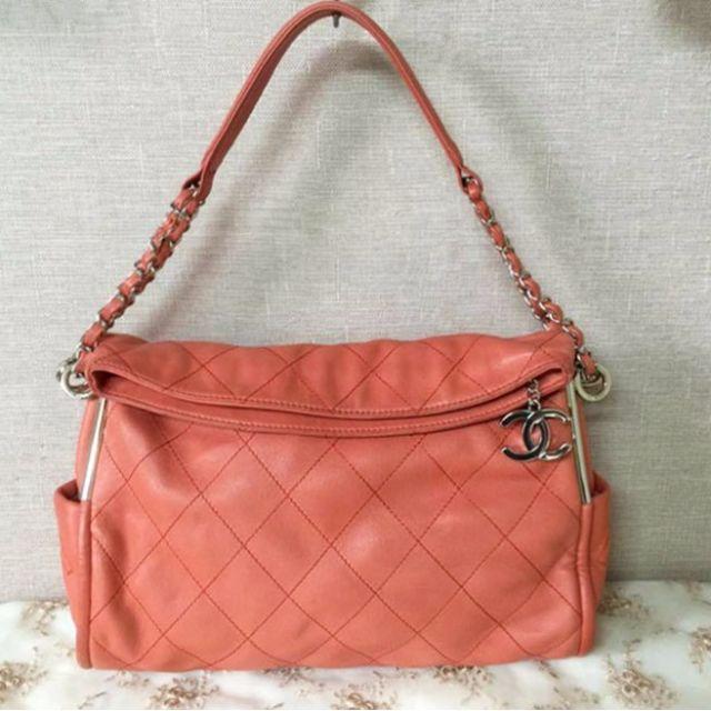 二手Chanel粉橘色羊皮鍊包 肩背包