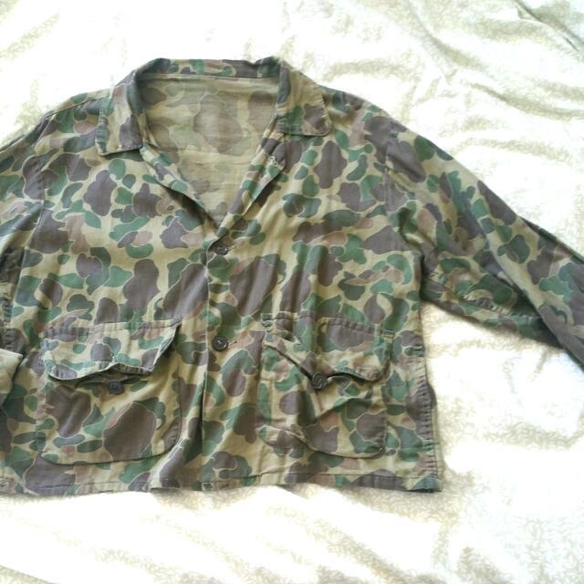 Cropped Khaki Army Button-Up