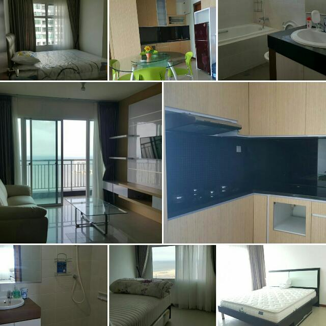 Disewakan Condominium Greenbay 3 Kmr Furnish 118m, View Laut Lepas Cantik, Furnish Komplit!