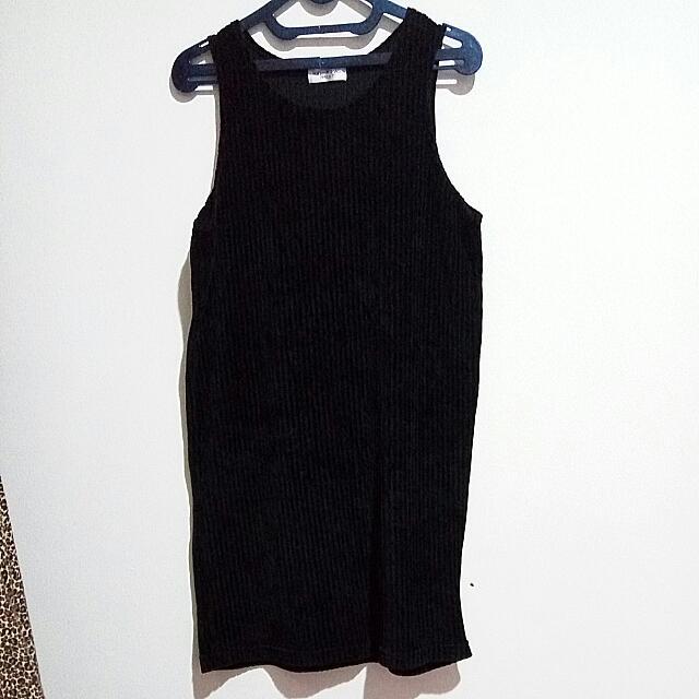 Overall Dress Bludru Black