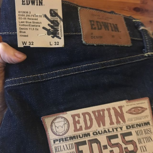 Edwin Blue Rinsed Denim Men's Jeans Relaxed Mid Rise Button Fly New With Tags W 32 L 32 Levi's Stussy