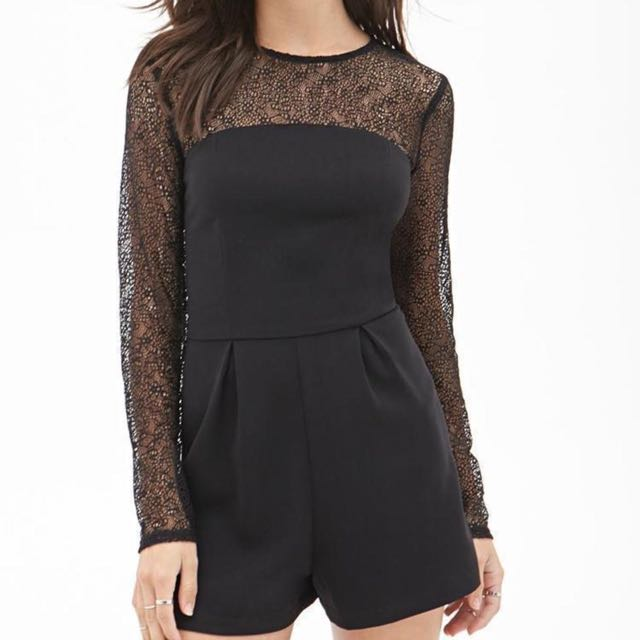 BRAND NEW Forever21 Black Lace Romper (Long Sleeve) Large