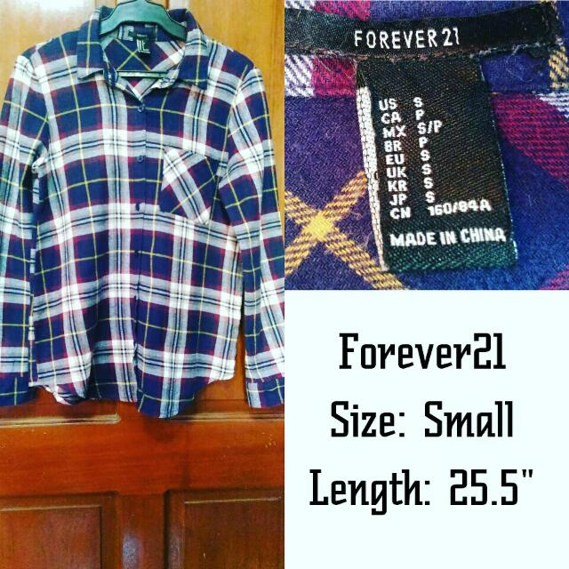 FOREVER 21 plaid long-sleeved top