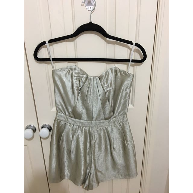 Forever New Gold Strapless Playsuit Size 8