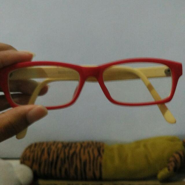 frame kacamata pink putih(putih gading)