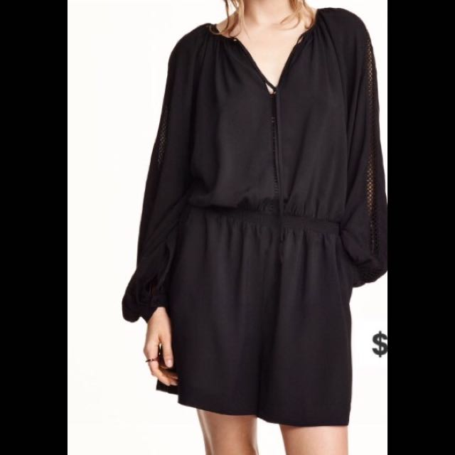 BRAND NEW H&M Black Embroidered Romper (long sleeve)