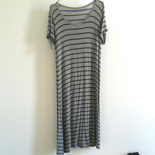 Lightweight Grey Stripe Maxi Dress AUS Size M/L