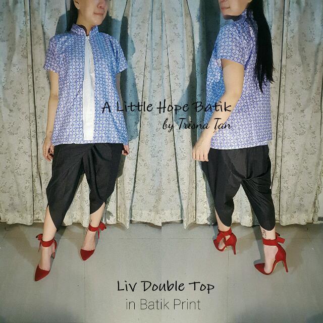 Liv Double Top Batik Print