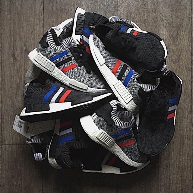 291712906 RESTOCKED   375 Adidas NMD R1 PK Trico Tri Color Pack In Black ...