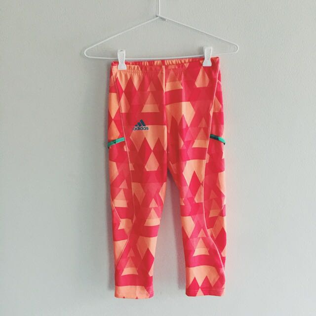 ORANGE GEOMETRIC ADIDAS TIGHTS SIZE XS