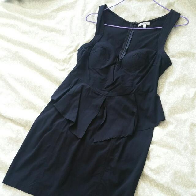 Peplum Little Black Dress AUS Size L
