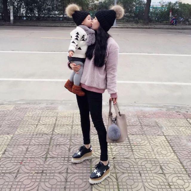 Pita歐美韓系親子大毛球螺紋毛帽可拆多色預購品實拍