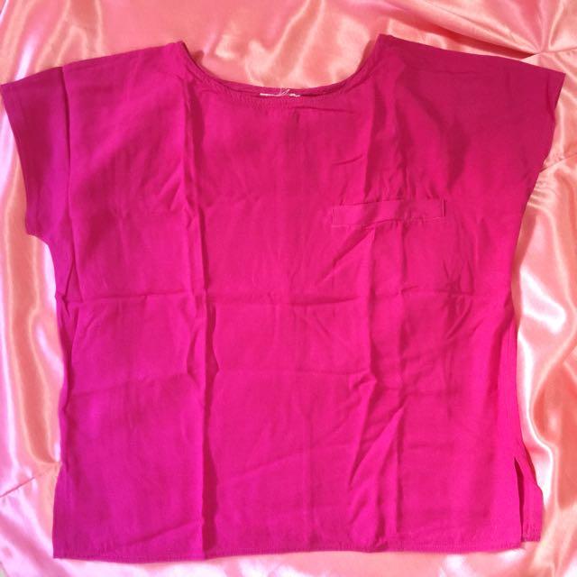 Plain Hot Pink Pocket T-shirt