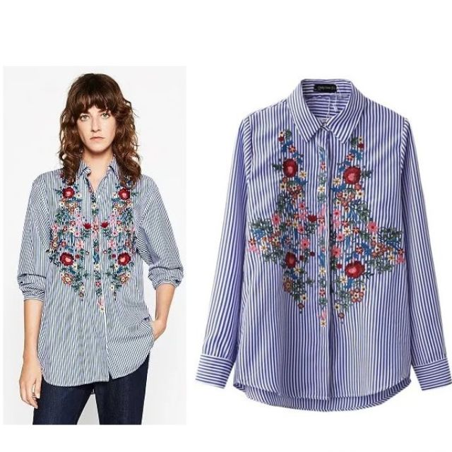 2f64e5c042ed9e PRE ORDER) FLORAL EMBROIDERY LONG SLEEVE SHIRT #5569 @ $30.80 ...