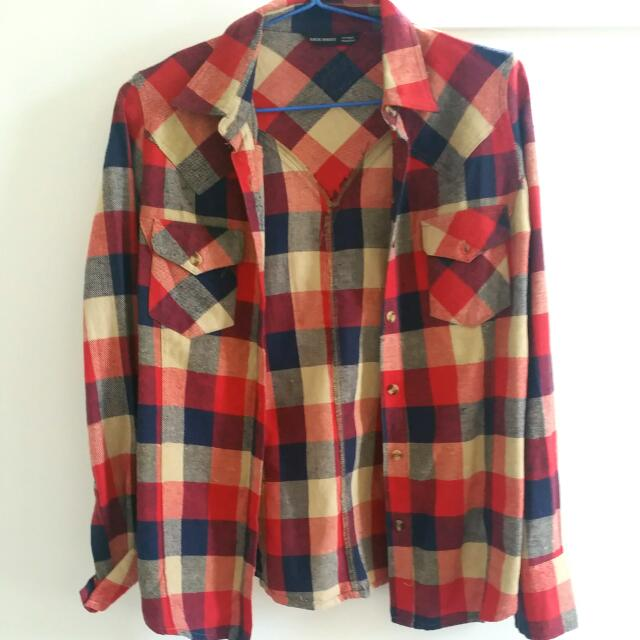 Red And Blue Plaid Button-Up Aus Size 10-12