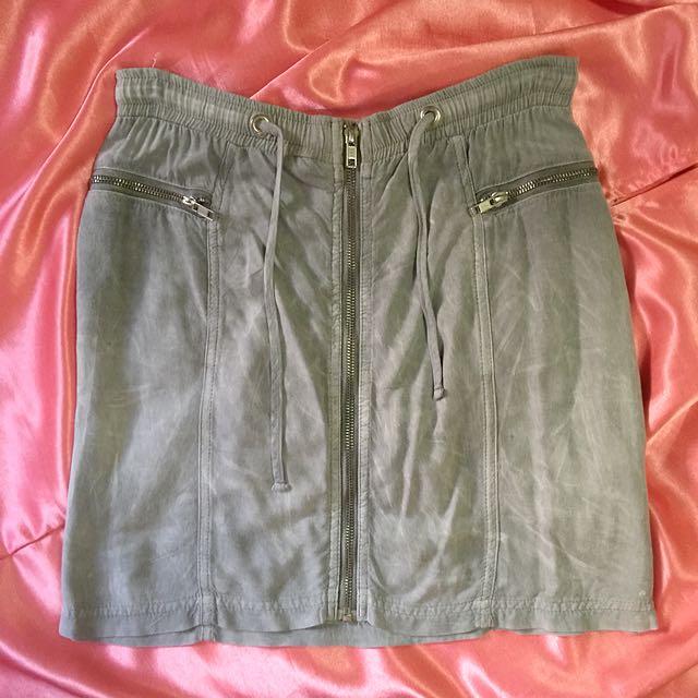 Topshop Gray Drawstring Miniskirt