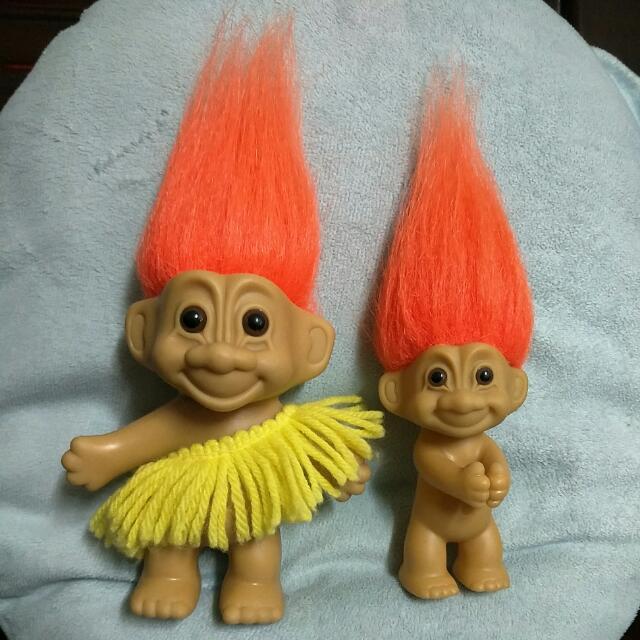 troll dolls 兩隻一起賣 魔髮精靈 巨魔娃娃 幸運小子