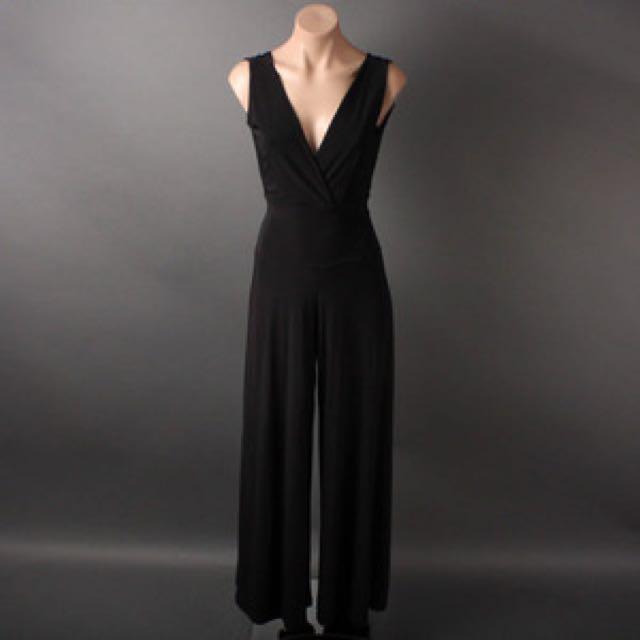 Women's Black Jumpsuit (V-Neck/Wide Leg)
