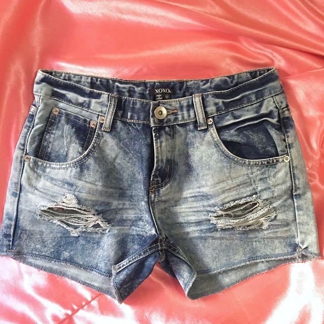 XOXO Distressed Denim Shorts