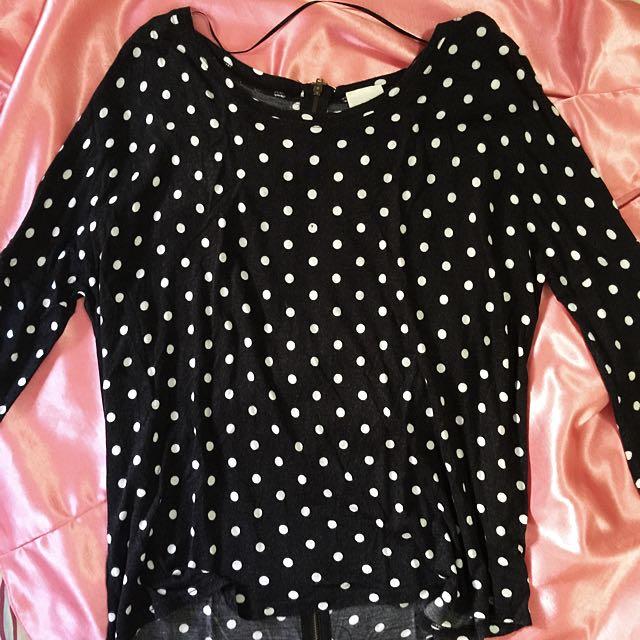 Zara Polka-dot Black and White Long-sleeve Shirt