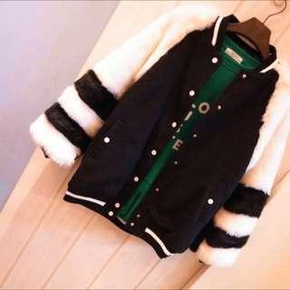 韓國毛毛棒球外套