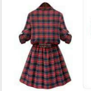 胖MM格紋連衣裙