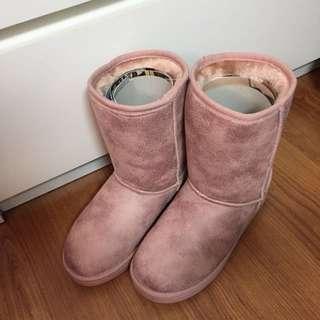 全新正韓Ollie粉色雪靴爆裂款內增高5公分