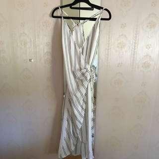White Stripe Low V-Neck Maxi Dress