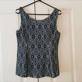 Valleygirl Navy & White Laced Top