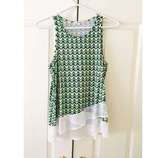 Valleygirl Green, Black & White Patterned Top