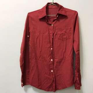 紅棕色秋冬感襯衫