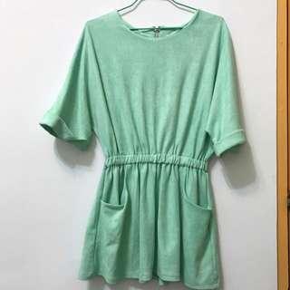 清新麂皮綠洋裝