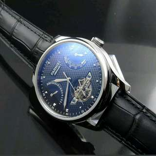43mm Parnis Black Dial Power Reserve Automatic Watch