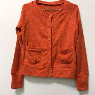 橘棕色針織外套