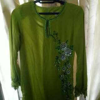 Green One-piece Kurung Modern