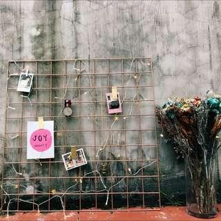 <PO> BN Rose gold grid organiser / Wire Wall Grid / Wall Hook Hanging Rail / Kitchen Organiser