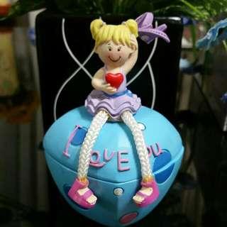 I LOVE YOU with SWEET LITTLE GIRL Figurine