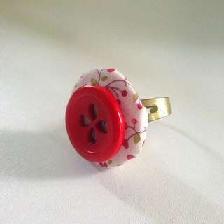 Handmade Red Indie Floral Button Ring