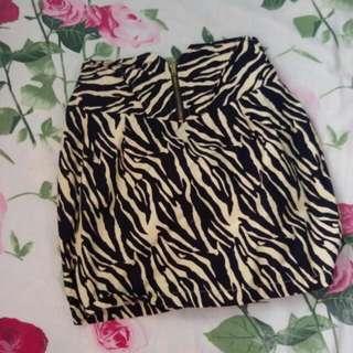 Zebra Print Pencil Mini Skirt