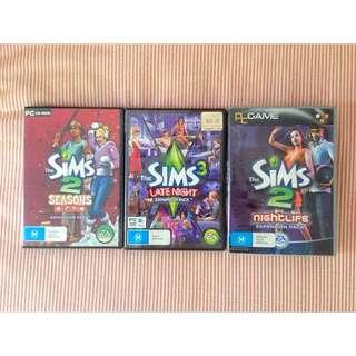 3 x Sims 2 & 3 Expansion Packs Bulk