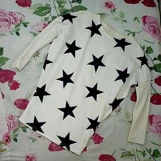 Korean White Star Pattern Longsleeve Top