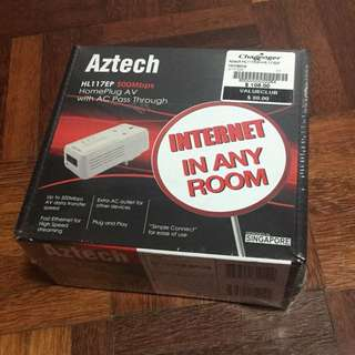 Aztech HL117EP 500mbps Homeplug AV With AC Passthrough