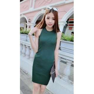 #88 Turtle Neck Knitted Back Detail Bodycon Midi Dress (Green)